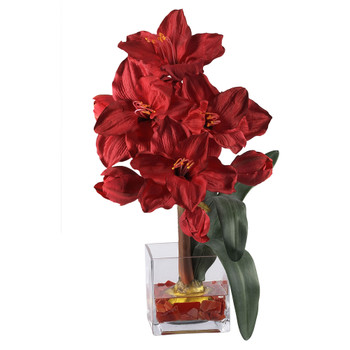 Amaryllis Liquid Illusion Silk Flower Arrangement - SKU #1110-RD