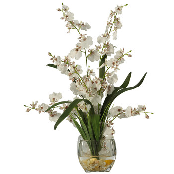 Dancing Lady Orchid Liquid Illusion Silk Flower Arrangement - SKU #1119-WH