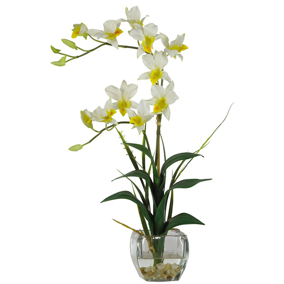Dendrobium w/Glass Vase Silk Flower Arrangement - SKU #1135 - 2