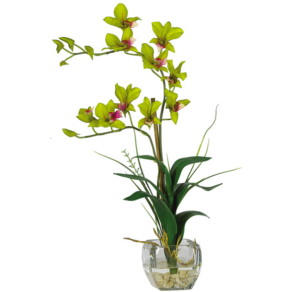 Dendrobium w/Glass Vase Silk Flower Arrangement - SKU #1135 - 3