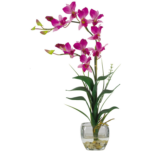 Dendrobium w/Glass Vase Silk Flower Arrangement - SKU #1135 - 1