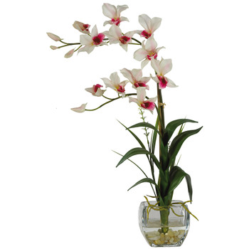 Dendrobium w/Glass Vase Silk Flower Arrangement - SKU #1135