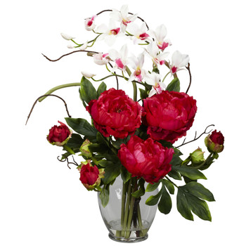 Peony Orchid Silk Flower Arrangement - SKU #1175