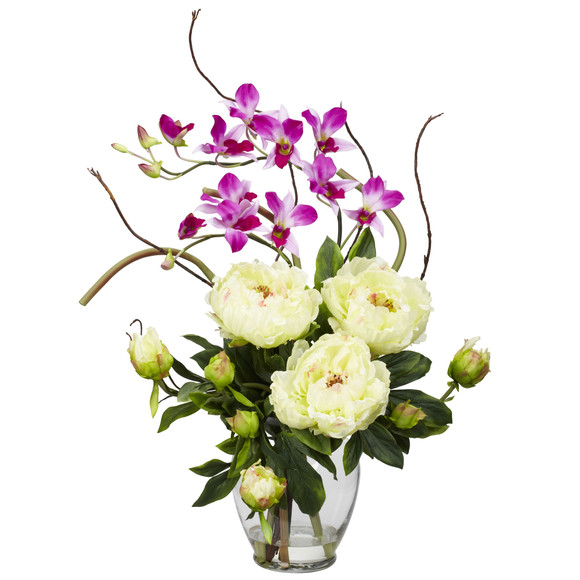 Peony Orchid Silk Flower Arrangement - SKU #1175 - 1