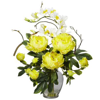 Peony Orchid Silk Flower Arrangement - SKU #1175-YL
