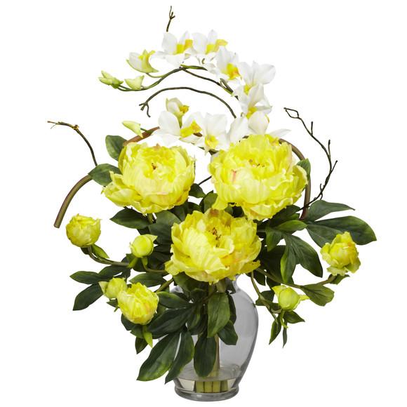 Peony Orchid Silk Flower Arrangement - SKU #1175 - 2