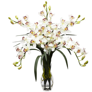 Cymbidium Orchid Silk Flower Arrangement - SKU #1184