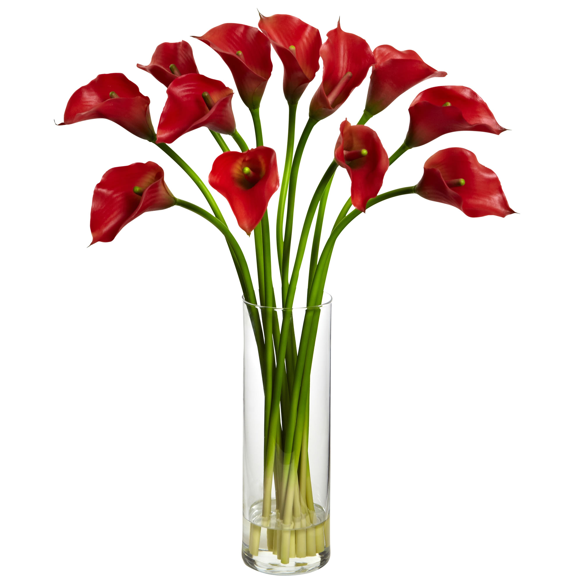 Artificial 20 Calla Lily Flower Arrangement In Faux Water Glass