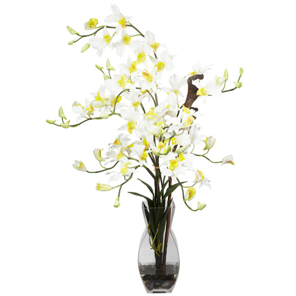 Dendrobium w/Vase Silk Flower Arrangement - SKU #1190 - 2