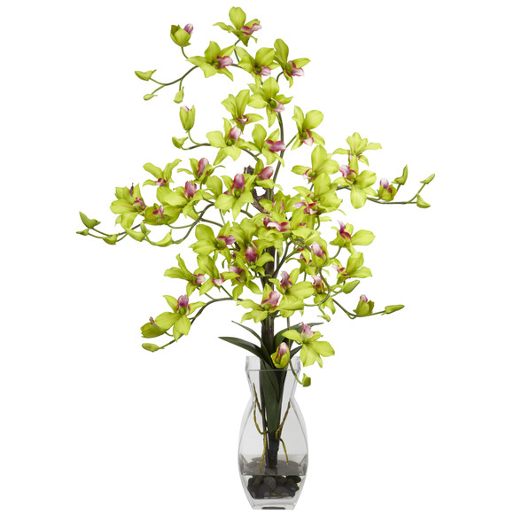 Dendrobium w/Vase Silk Flower Arrangement - SKU #1190 - 3