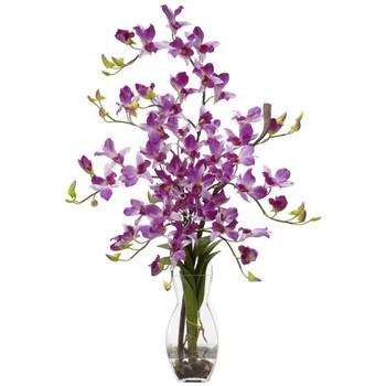Dendrobium w/Vase Silk Flower Arrangement - SKU #1190-PP