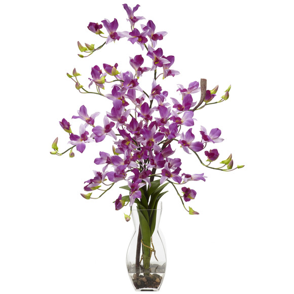 Dendrobium w/Vase Silk Flower Arrangement - SKU #1190 - 1
