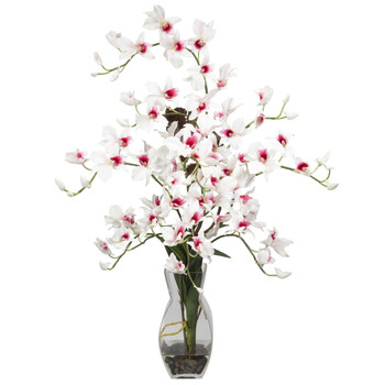Dendrobium w/Vase Silk Flower Arrangement - SKU #1190