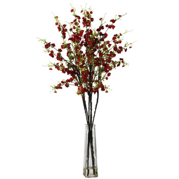 Cherry Blossoms w/Vase Silk Flower Arrangement - SKU #1193-RD