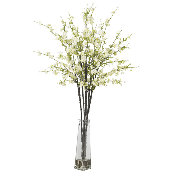 Cherry Blossoms w/Vase Silk Flower Arrangement - SKU #1193 - 1