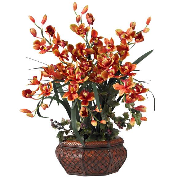 Large Cymbidium Silk Flower Arrangement - SKU #1199 - 1