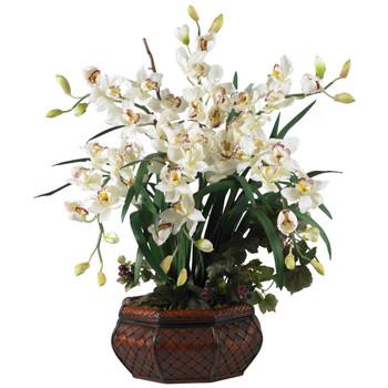 Large Cymbidium Silk Flower Arrangement - SKU #1199