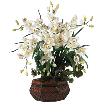 Large Cymbidium Silk Flower Arrangement - SKU #1199-WH