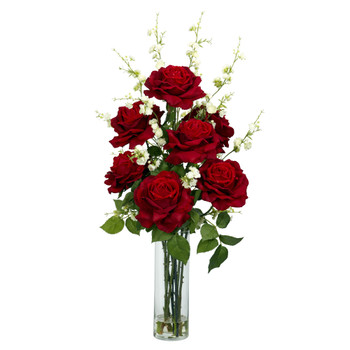 Roses w/Cherry Blossoms Silk Flower Arrangement - SKU #1203