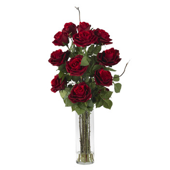 Roses w/Cylinder Vase Silk Flower Arrangement - SKU #1206