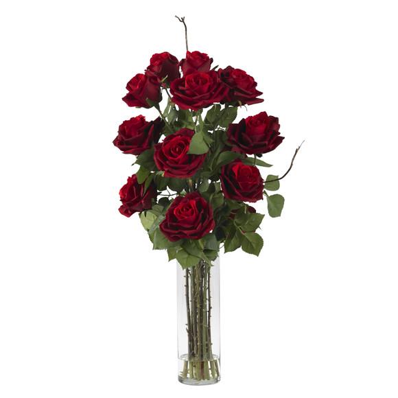 Roses w/Cylinder Vase Silk Flower Arrangement - SKU #1206