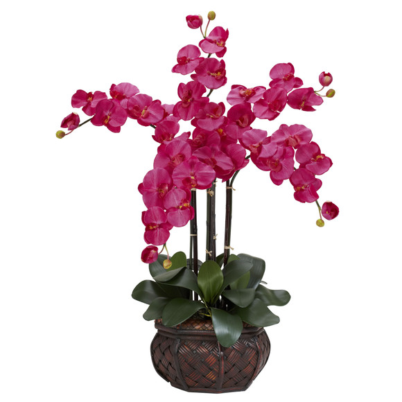 Phalaenopsis w/Decorative Vase Silk Flower Arrangement - SKU #1211