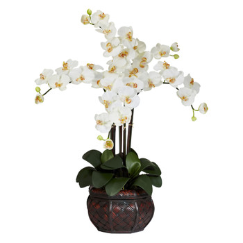 Phalaenopsis w/Decorative Vase Silk Flower Arrangement - SKU #1211-CR