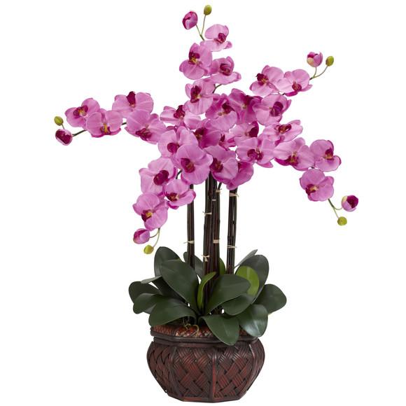 Phalaenopsis w/Decorative Vase Silk Flower Arrangement - SKU #1211 - 3