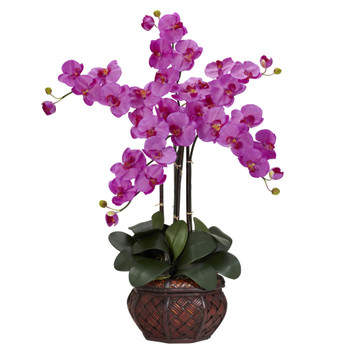 Phalaenopsis w/Decorative Vase Silk Flower Arrangement - SKU #1211