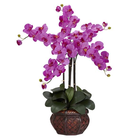 Phalaenopsis w/Decorative Vase Silk Flower Arrangement - SKU #1211 - 1