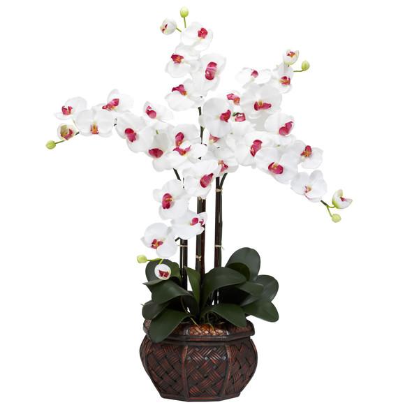 Phalaenopsis w/Decorative Vase Silk Flower Arrangement - SKU #1211 - 2