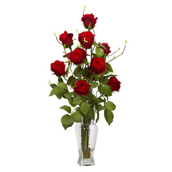 Rosebud Silk Flower Arrangement - SKU #1213
