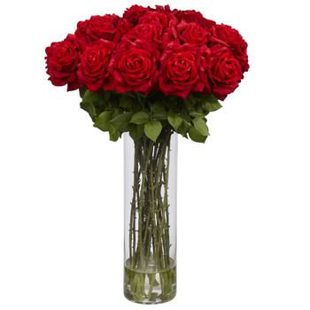 Giant Rose Silk Flower Arrangement - SKU #1214