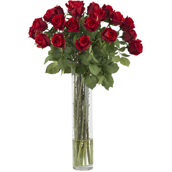 Rosebud w/Cylinder Silk Flower Arrangement - SKU #1218
