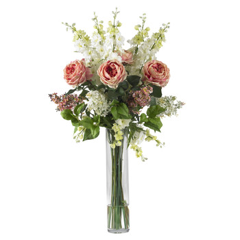 Rose Delphinium and Lilac Silk Flower Arrangement - SKU #1220