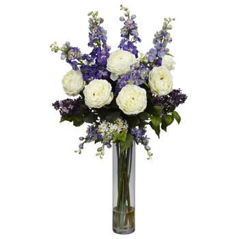 Rose Delphinium and Lilac Silk Flower Arrangement - SKU #1220-PP