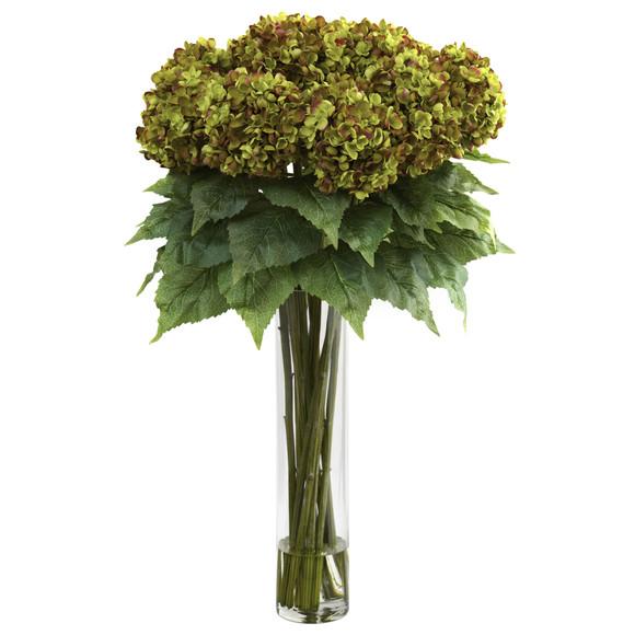 Hydrangea w/Cylinder Silk Flower Arrangement - SKU #1221 - 2