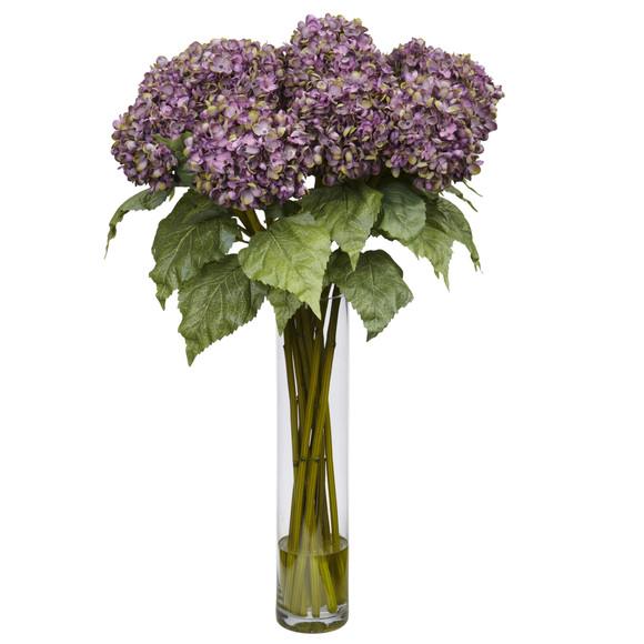 Hydrangea w/Cylinder Silk Flower Arrangement - SKU #1221 - 1