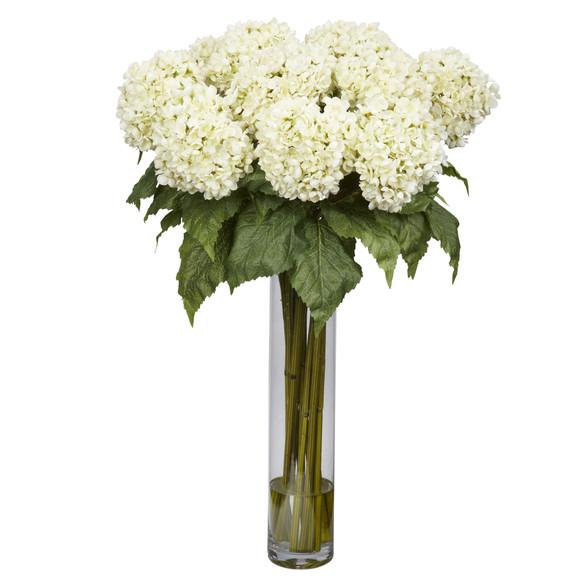 Hydrangea w/Cylinder Silk Flower Arrangement - SKU #1221
