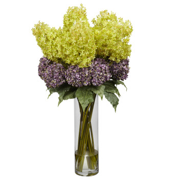 Giant Mixed Hydrangea Silk Flower Arrangement - SKU #1222
