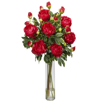 Peony w/Cylinder Silk Flower Arrangement - SKU #1230