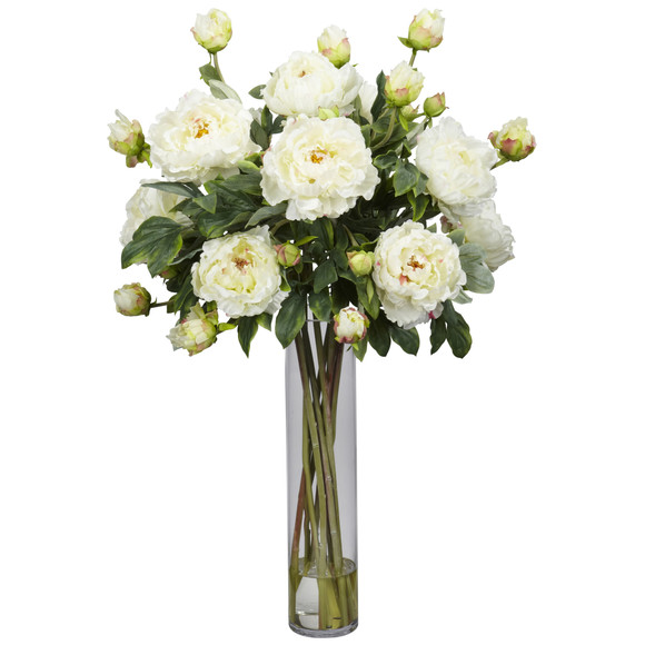 Peony w/Cylinder Silk Flower Arrangement - SKU #1230 - 1