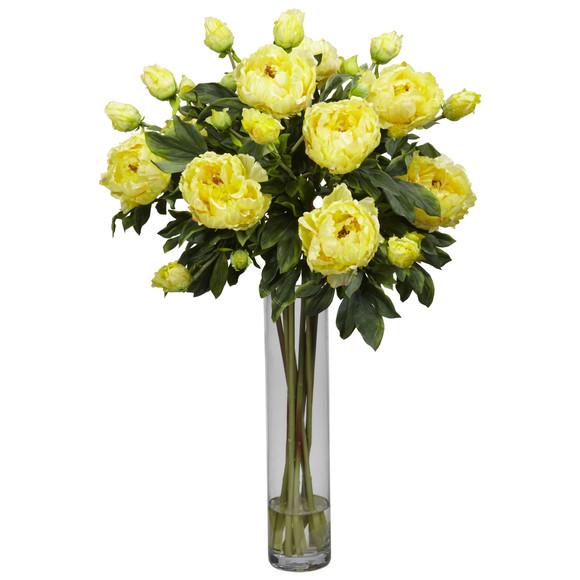 Peony w/Cylinder Silk Flower Arrangement - SKU #1230 - 2