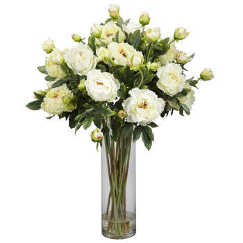 Giant Peony Silk Flower Arrangement - SKU #1231-WH