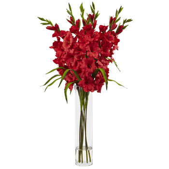 Large Gladiola w/Cylinder Vase Silk Arrangement - SKU #1240