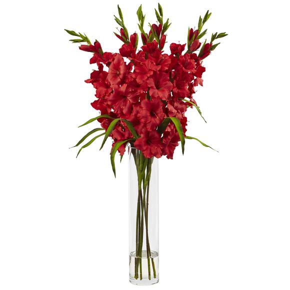 Large Gladiola w/Cylinder Vase Silk Arrangement - SKU #1240
