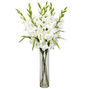 Large Gladiola w/Cylinder Vase Silk Arrangement - SKU #1240-WH
