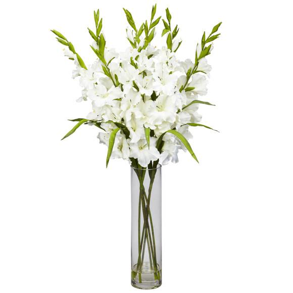 Large Gladiola w/Cylinder Vase Silk Arrangement - SKU #1240 - 1