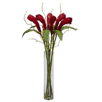Ginger w/Cylinder Vase Silk Flower Arrangement - SKU #1242