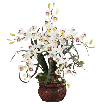 Cymbidium w/Decorative Vase Silk Arrangement - SKU #1245